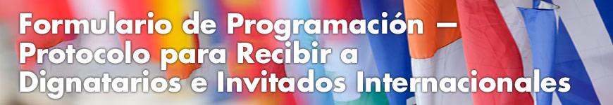 Formulario de Programación: Protocolo para Recibir a Dignatarios e Invitados Internacionales