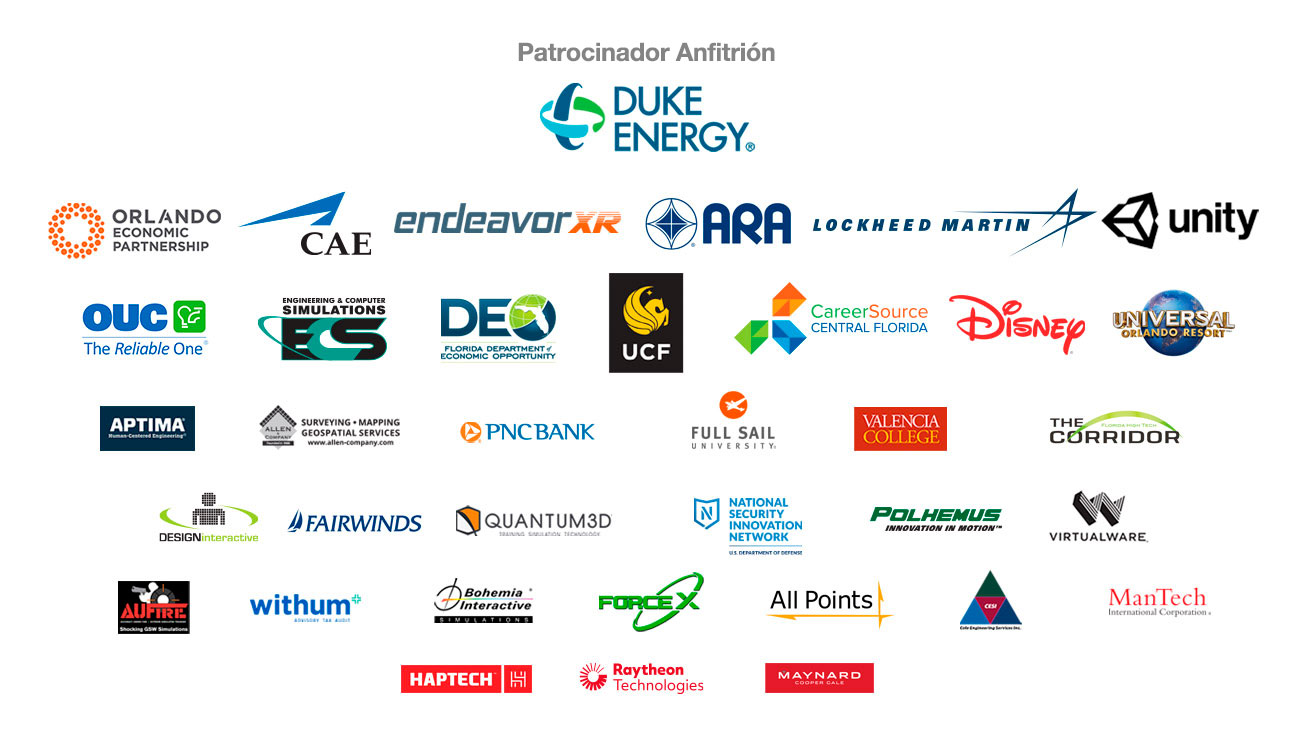 Logotipos de los patrocinadores y el patrocinador principal Duke Energy, Orlando Economic Partnership, Unity, Engineering & Computer Simulations, Lockheed Martin, Florida Department of Economic Opportunity, Endeavor XR, Valencia College, Florida High Tech The Corridor, Allen & Company, Bohemia Interactive, Aptima Human-Centered Engineering, Raytheon Technologies, UCF, Design Interactive, CareerSource Central Florida, Withum-smith-and-Brown, Virtualware, Quantum 3D, Full Sail, Cole Engineering, Universal, OUC, PNC Bank, AU Fire, Force X, National Security Innovation Network, Mantech, Polhemus, All Points, Disney, Maynard Cooper Gale, Haptech, CAE